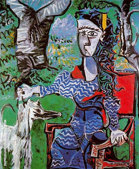 Woman and Dog Under a Tree 1962 By Pablo Picasso