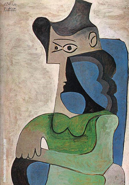 Seated Woman with Hat 1961 By Pablo Picasso - Oil Paintings & Art Reproductions - Reproduction Gallery