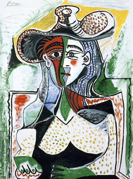 Woman with Big Hat 1962 By Pablo Picasso