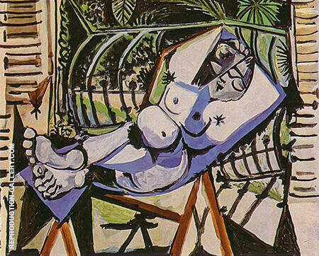 Nude in Front of the Garden 1956 By Pablo Picasso