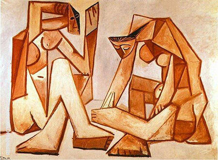 Two Women on the Beach 1956 By Pablo Picasso - Oil Paintings & Art Reproductions - Reproduction Gallery