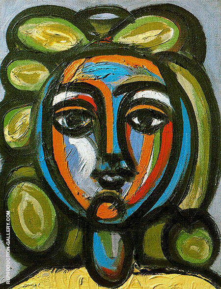 Head of a Woman with Green Curls 1946 By Pablo Picasso - Oil Paintings & Art Reproductions - Reproduction Gallery