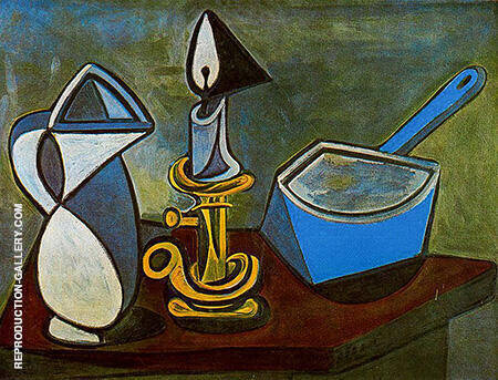 Pitcher Candle and Enamel Saucepan 1945 By Pablo Picasso - Oil Paintings & Art Reproductions - Reproduction Gallery