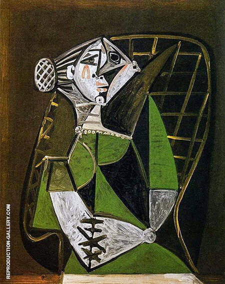 Seated Woman with a Bun 1951 By Pablo Picasso - Oil Paintings & Art Reproductions - Reproduction Gallery