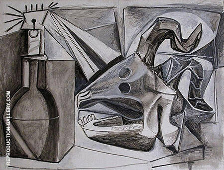 Goat Skull Bottle and Candle 1952 By Pablo Picasso - Oil Paintings & Art Reproductions - Reproduction Gallery