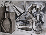 Goat Skull Bottle and Candle 1952 By Pablo Picasso
