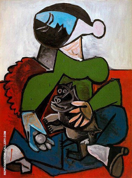 Seated Woman with Dog 1953 By Pablo Picasso - Oil Paintings & Art Reproductions - Reproduction Gallery
