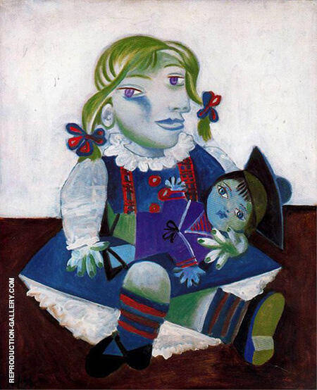 Portrait of Maya with Her Doll 1938 By Pablo Picasso - Oil Paintings & Art Reproductions - Reproduction Gallery