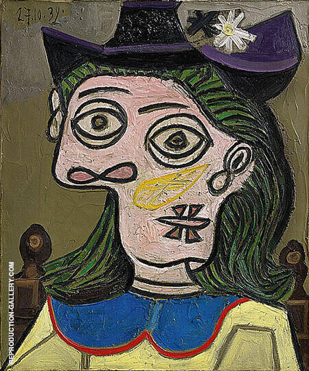 Woman with Mauve Hat 1939 By Pablo Picasso - Oil Paintings & Art Reproductions - Reproduction Gallery
