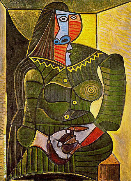 Reproduction of Woman in Green 1943 by Pablo Picasso | Oil Painting Replica On CanvasReproduction Gallery