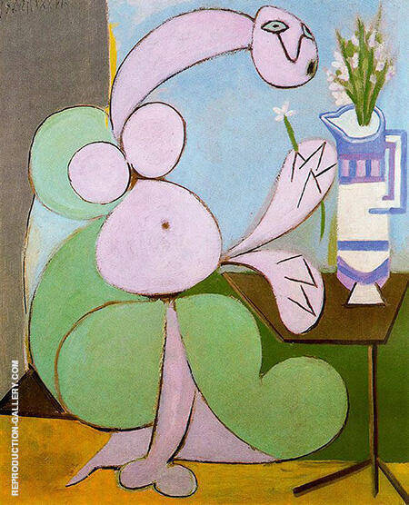 Woman with Bouquet Flowers 1936 By Pablo Picasso - Oil Paintings & Art Reproductions - Reproduction Gallery