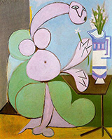 Woman with Bouquet Flowers 1936 By Pablo Picasso