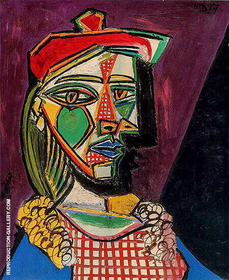 Woman with Cap and Checked Dress 1937 By Pablo Picasso