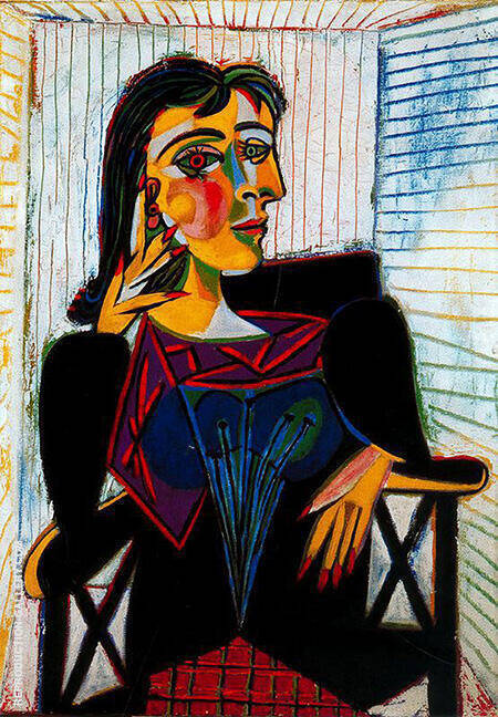 Portrait of Dora Maar Seated 1937 By Pablo Picasso - Oil Paintings & Art Reproductions - Reproduction Gallery