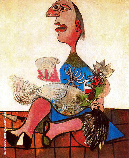 Reproduction of Woman with Cockerel 1938 by Pablo Picasso | Oil Painting Replica On CanvasReproduction Gallery