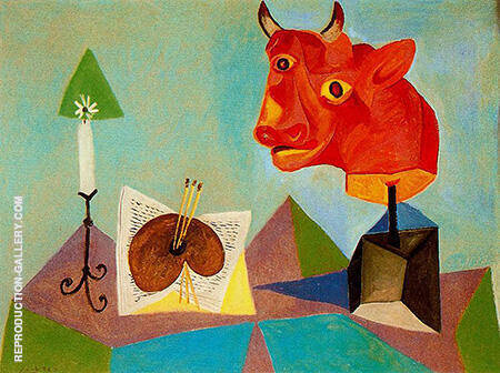 Still Life with Red Bulls Head 1938 By Pablo Picasso