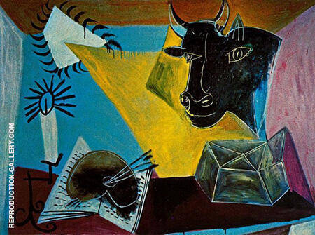 Still Life with Candle Palette and Black Bulls Head 1938 By Pablo Picasso - Oil Paintings & Art Reproductions - Reproduction Gallery