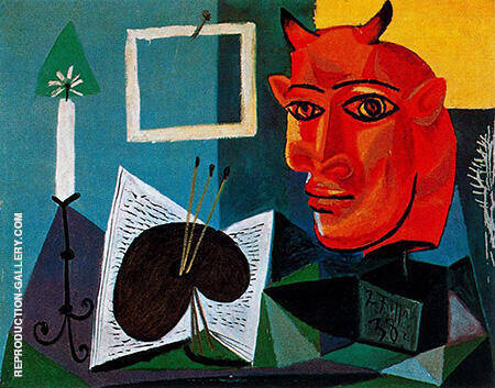 Still Life with Candle Palette and Red Head of Minotaur 1938 By Pablo Picasso - Oil Paintings & Art Reproductions - Reproduction Gallery