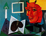 Still Life with Candle Palette and Red Head of Minotaur 1938 By Pablo Picasso