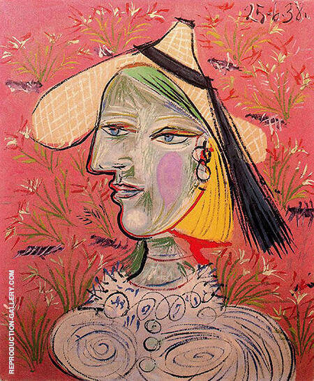 Woman in a Straw Hat 1938 By Pablo Picasso - Oil Paintings & Art Reproductions - Reproduction Gallery