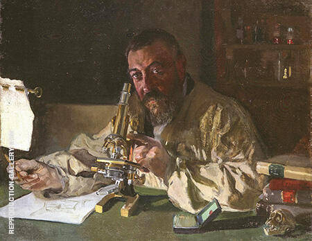 Portrait of Dr Simarro at the Microscope 1897 By Joaquin Sorolla - Oil Paintings & Art Reproductions - Reproduction Gallery