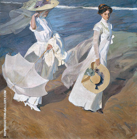 Strolling along the Seashore 1909 By Joaquin Sorolla - Oil Paintings & Art Reproductions - Reproduction Gallery