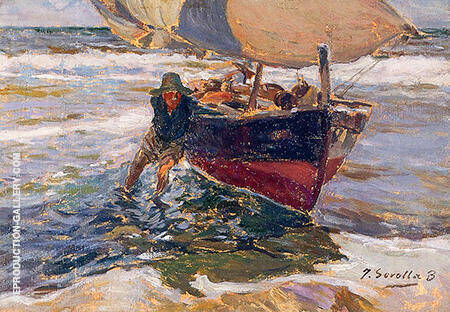 Beaching the Boat By Joaquin Sorolla - Oil Paintings & Art Reproductions - Reproduction Gallery