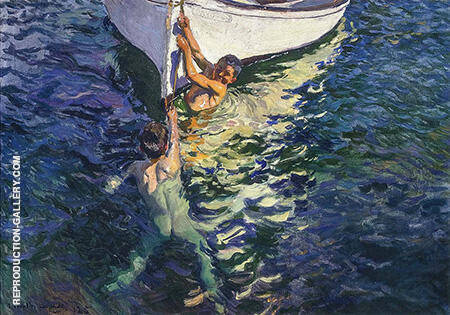 The White Boat Javea 1905 By Joaquin Sorolla - Oil Paintings & Art Reproductions - Reproduction Gallery