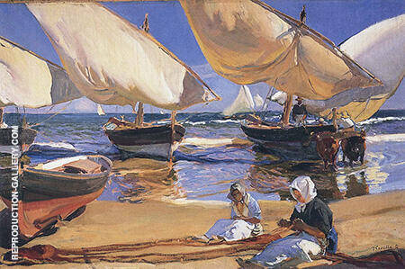 On the Beach at Valencia 1916 by Joaquin Sorolla | Oil Painting Reproduction Replica On Canvas - Reproduction Gallery