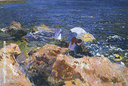 On the Rocks at Javea 1905 By Joaquin Sorolla - Oil Paintings & Art Reproductions - Reproduction Gallery