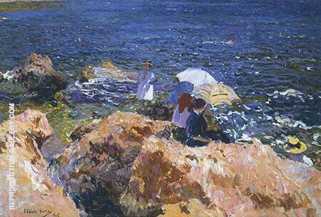 On the Rocks at Javea 1905 By Joaquin Sorolla