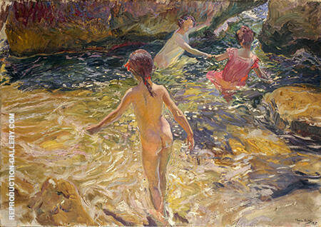The Bath Javea 1905 By Joaquin Sorolla - Oil Paintings & Art Reproductions - Reproduction Gallery