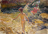 The Bath Javea 1905 By Joaquin Sorolla