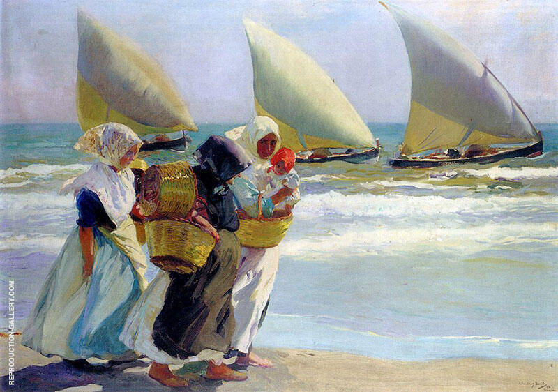 Three Sails 1903 Painting By Joaquin Sorolla - Reproduction Gallery