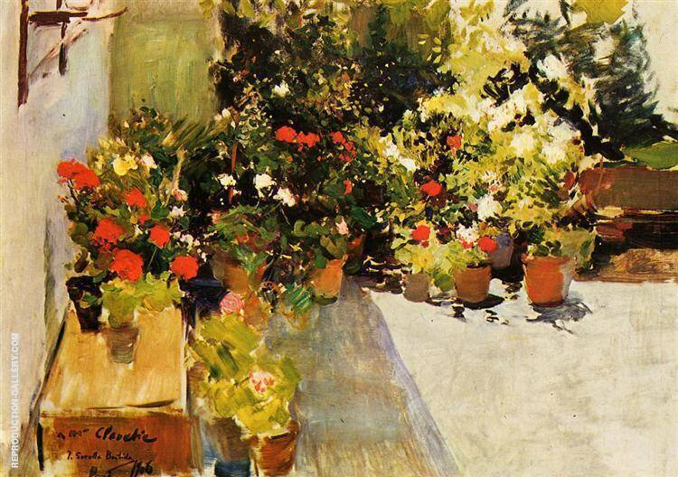 A Rooftop with Flowers By Joaquin Sorolla