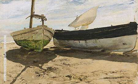 Fishing Boats On The Beach Valencia 1894 by Joaquin Sorolla | Oil Painting Reproduction Replica On Canvas - Reproduction Gallery