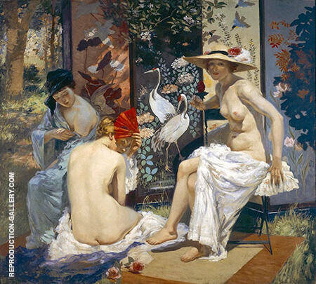 The Sun Bath 1913 By Rupert Bunny - Oil Paintings & Art Reproductions - Reproduction Gallery