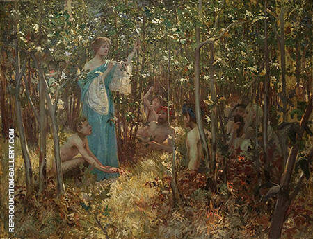 Una and the Fauns 1880 By Rupert Bunny