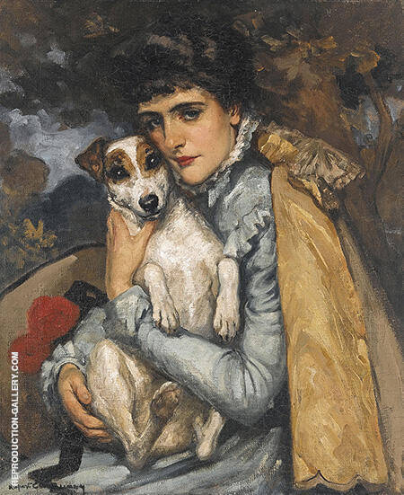 Jeanne with Her Terrier c1902 By Rupert Bunny - Oil Paintings & Art Reproductions - Reproduction Gallery