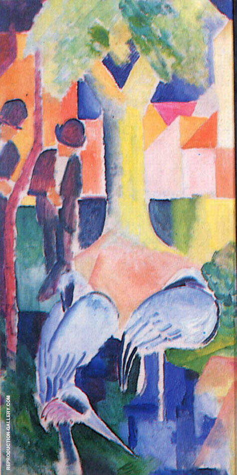 Big Zoo Triptych Panel 1 By August Macke - Oil Paintings & Art Reproductions - Reproduction Gallery