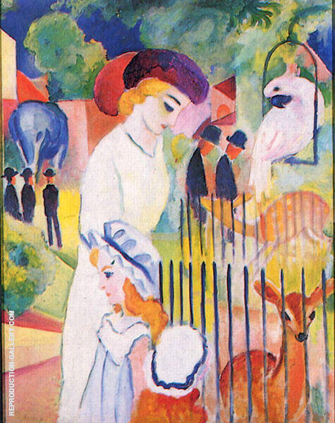 Big Zoo Triptych Panel 2 Painting By August Macke - Reproduction Gallery