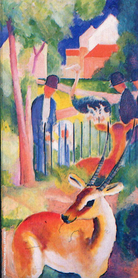 Big Zoo Triptych Panel 3 By August Macke