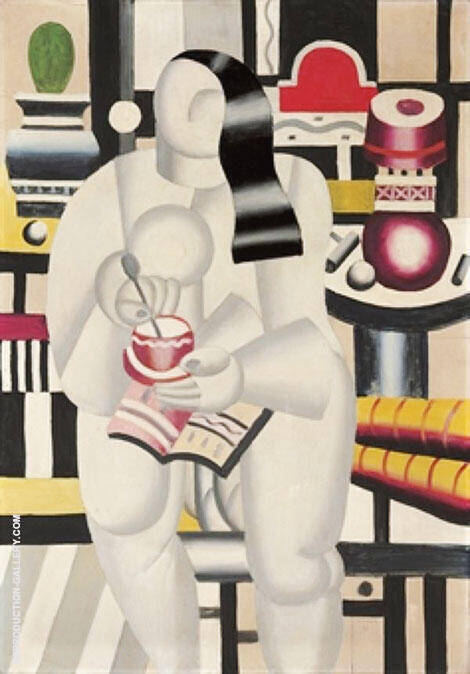 Woman with Cup of Tea By Fernand Leger