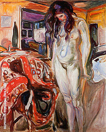 Nude by the Wicker Chair 1929 By Edvard Munch - Oil Paintings & Art Reproductions - Reproduction Gallery