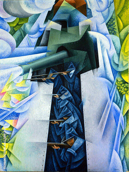 Armored Train in Action Painting By Gino Severini - Reproduction Gallery