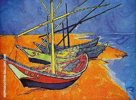 Boats at Les Saintes Maries 1888 By Vincent van Gogh