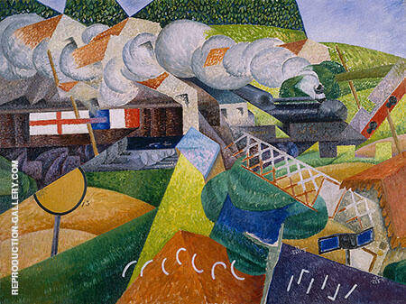 Red Cross Train Passing a Village Painting By Gino Severini