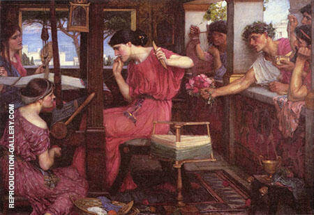 Penelope and the Suitors Painting By John William Waterhouse