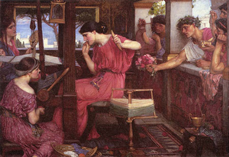 Penelope and the Suitors By John William Waterhouse