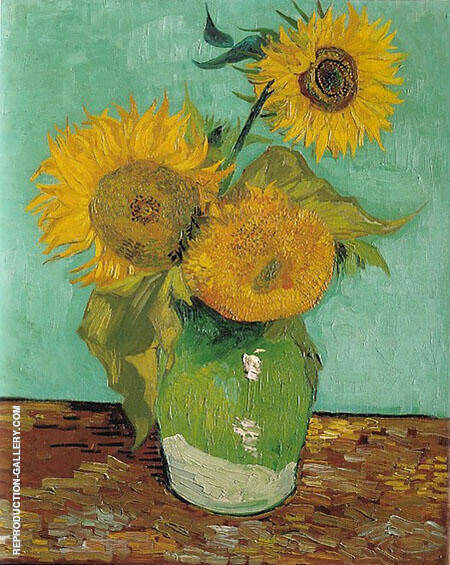 Three Sunflowers in a Vase 1888 By Vincent van Gogh